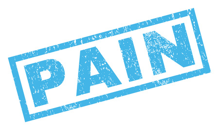 defective: Pain text rubber seal stamp watermark. Tag inside rectangular banner with grunge design and scratched texture. Inclined vector blue ink sign on a white background.