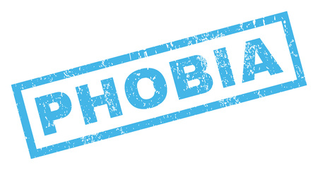 phobia: Phobia text rubber seal stamp watermark. Caption inside rectangular shape with grunge design and dust texture. Inclined vector blue ink sign on a white background.