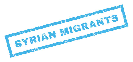 refuge: Syrian Migrants text rubber seal stamp watermark. Tag inside rectangular shape with grunge design and unclean texture. Inclined vector blue ink emblem on a white background.