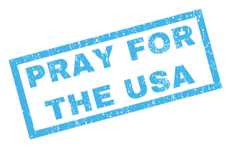Pray For The USA text rubber seal stamp watermark. Tag inside rectangular banner with grunge design and dust texture. Inclined vector blue ink emblem on a white background. Illustration