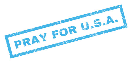 Pray For U.S.A. text rubber seal stamp watermark. Caption inside rectangular shape with grunge design and scratched texture. Inclined vector blue ink sticker on a white background.