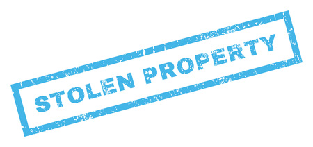 Stolen Property text rubber seal stamp watermark. Tag inside rectangular banner with grunge design and unclean texture. Inclined vector blue ink emblem on a white background. Illustration