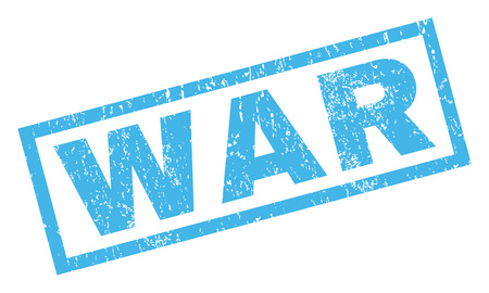 War text rubber seal stamp watermark. Tag inside rectangular shape with grunge design and dirty texture. Inclined vector blue ink sign on a white background.
