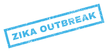 quarantine: Zika Outbreak text rubber seal stamp watermark. Tag inside rectangular shape with grunge design and dirty texture. Inclined vector blue ink sign on a white background.