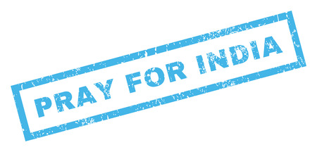 Pray For India text rubber seal stamp watermark. Caption inside rectangular banner with grunge design and dust texture. Inclined vector blue ink sticker on a white background.