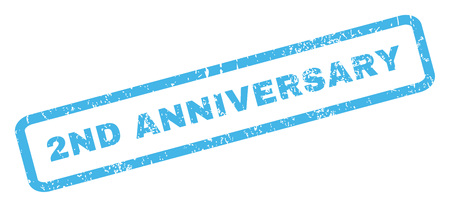 2nd: 2nd Anniversary text rubber seal stamp watermark. Caption inside rectangular shape with grunge design and dirty texture. Inclined glyph blue ink sign on a white background. Stock Photo