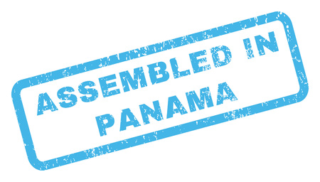 panamanian: Assembled In Panama text rubber seal stamp watermark. Caption inside rectangular banner with grunge design and dirty texture. Inclined glyph blue ink sticker on a white background. Stock Photo
