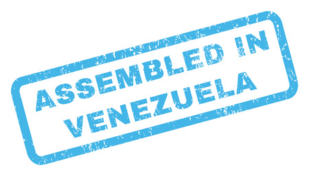 inclined: Assembled In Venezuela text rubber seal stamp watermark. Caption inside rectangular shape with grunge design and unclean texture. Inclined glyph blue ink sign on a white background.
