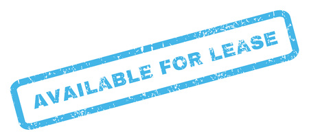 achievable: Available For Lease text rubber seal stamp watermark. Caption inside rectangular banner with grunge design and dust texture. Inclined glyph blue ink sign on a white background.