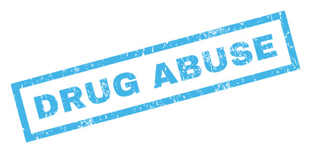 drug abuse: Drug Abuse text rubber seal stamp watermark. Tag inside rectangular shape with grunge design and scratched texture. Inclined glyph blue ink sign on a white background.