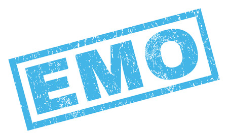 emo: Emo text rubber seal stamp watermark. Caption inside rectangular banner with grunge design and unclean texture. Inclined glyph blue ink sign on a white background. Stock Photo