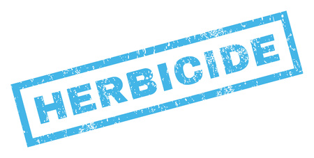 herbicide: Herbicide text rubber seal stamp watermark. Tag inside rectangular shape with grunge design and scratched texture. Inclined glyph blue ink emblem on a white background. Stock Photo