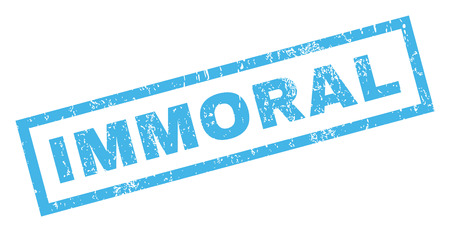 immoral: Immoral text rubber seal stamp watermark. Caption inside rectangular banner with grunge design and unclean texture. Inclined glyph blue ink emblem on a white background.
