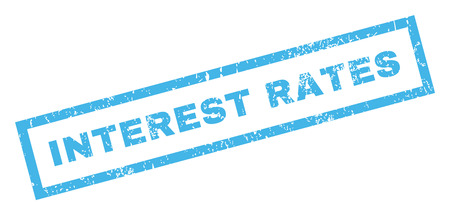 interest rates: Interest Rates text rubber seal stamp watermark. Tag inside rectangular banner with grunge design and unclean texture. Inclined glyph blue ink sticker on a white background.