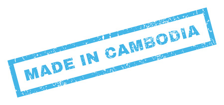 inclined: Made In Cambodia text rubber seal stamp watermark. Tag inside rectangular banner with grunge design and dust texture. Inclined glyph blue ink sign on a white background.