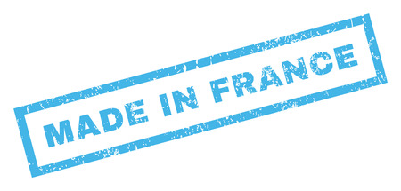 Made In France text rubber seal stamp watermark. Tag inside rectangular banner with grunge design and dirty texture. Inclined glyph blue ink sign on a white background.
