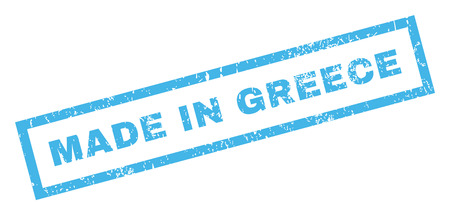 grecian: Made In Greece text rubber seal stamp watermark. Caption inside rectangular banner with grunge design and unclean texture. Inclined glyph blue ink sign on a white background.