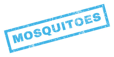 mosquitoes: Mosquitoes text rubber seal stamp watermark. Caption inside rectangular banner with grunge design and scratched texture. Inclined glyph blue ink emblem on a white background.