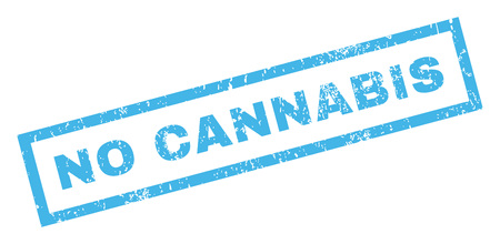No Cannabis text rubber seal stamp watermark. Tag inside rectangular shape with grunge design and scratched texture. Inclined glyph blue ink sticker on a white background.