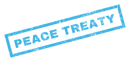 treaty: Peace Treaty text rubber seal stamp watermark. Caption inside rectangular shape with grunge design and unclean texture. Inclined glyph blue ink sticker on a white background.