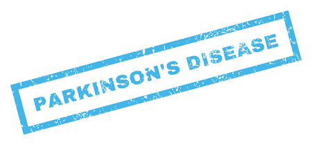 parkinson's disease: ParkinsonS Disease text rubber seal stamp watermark. Tag inside rectangular banner with grunge design and unclean texture. Inclined glyph blue ink emblem on a white background.
