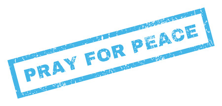 Pray For Peace text rubber seal stamp watermark. Tag inside rectangular banner with grunge design and dust texture. Inclined glyph blue ink sign on a white background. Stock Photo