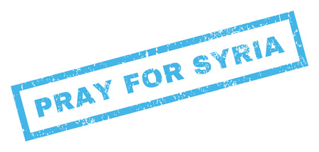 require: Pray For Syria text rubber seal stamp watermark. Caption inside rectangular banner with grunge design and dirty texture. Inclined glyph blue ink emblem on a white background.
