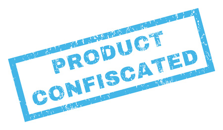 Product Confiscated text rubber seal stamp watermark. Caption inside rectangular banner with grunge design and dust texture. Inclined glyph blue ink emblem on a white background.