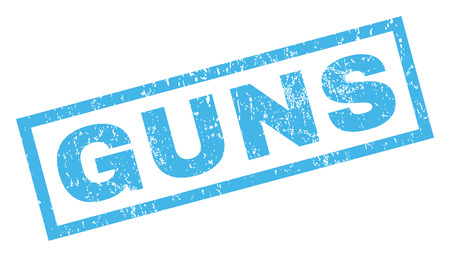 inclined: Guns text rubber seal stamp watermark. Caption inside rectangular shape with grunge design and dirty texture. Inclined vector blue ink sticker on a white background.