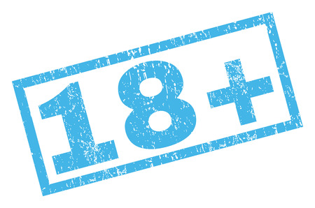 18 Plus text rubber seal stamp watermark. Caption inside rectangular banner with grunge design and dust texture. Inclined vector blue ink emblem on a white background. Illustration