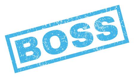 Boss texto sello de goma sello marca de agua. Título dentro de banner rectangular con diseño grunge y textura sucia. Incline vector tinta azul signo sobre un fondo blanco.