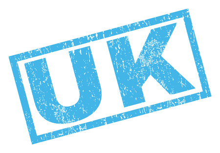 UK text rubber seal stamp watermark. Tag inside rectangular banner with grunge design and unclean texture. Inclined vector blue ink sign on a white background. Vektorové ilustrace