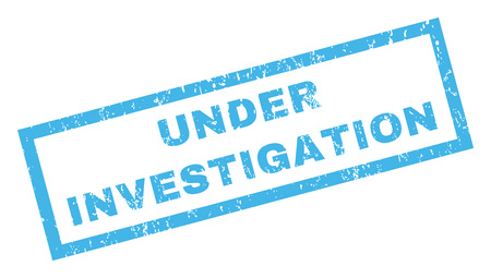 Under Investigation text rubber seal stamp watermark. Caption inside rectangular banner with grunge design and dust texture. Inclined vector blue ink sticker on a white background.