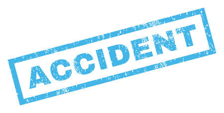 inclined: Accident text rubber seal stamp watermark. Tag inside rectangular shape with grunge design and dust texture. Inclined vector blue ink emblem on a white background.
