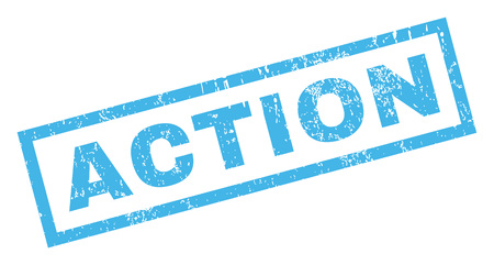 disciplinary action: Action text rubber seal stamp watermark. Caption inside rectangular shape with grunge design and dust texture. Inclined vector blue ink emblem on a white background.