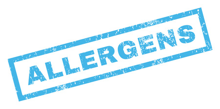 allergens: Allergens text rubber seal stamp watermark. Tag inside rectangular banner with grunge design and unclean texture. Inclined vector blue ink sign on a white background.