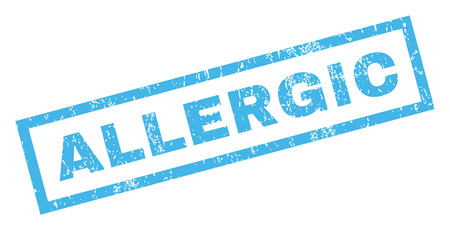 inclined: Allergic text rubber seal stamp watermark. Tag inside rectangular shape with grunge design and scratched texture. Inclined vector blue ink sticker on a white background.