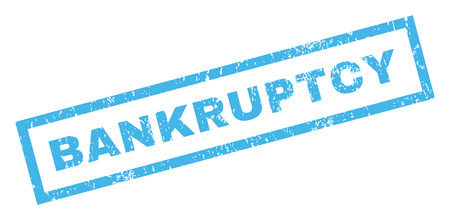 Bankruptcy text rubber seal stamp watermark. Tag inside rectangular banner with grunge design and scratched texture. Inclined vector blue ink sticker on a white background.
