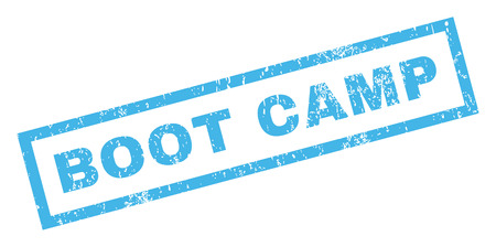 inclined: Boot Camp text rubber seal stamp watermark. Caption inside rectangular banner with grunge design and dust texture. Inclined vector blue ink sign on a white background. Illustration