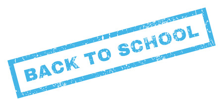 inclined: Back To School text rubber seal stamp watermark. Caption inside rectangular banner with grunge design and scratched texture. Inclined vector blue ink emblem on a white background.