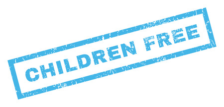 inclined: Children Free text rubber seal stamp watermark. Caption inside rectangular shape with grunge design and dust texture. Inclined vector blue ink sticker on a white background.