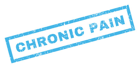 inclined: Chronic Pain text rubber seal stamp watermark. Caption inside rectangular banner with grunge design and scratched texture. Inclined vector blue ink sign on a white background.