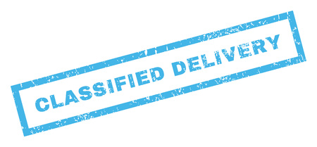 inclined: Classified Delivery text rubber seal stamp watermark. Caption inside rectangular banner with grunge design and unclean texture. Inclined vector blue ink sticker on a white background.