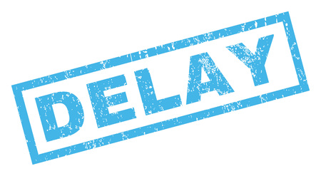 Delay text rubber seal stamp watermark. Tag inside rectangular banner with grunge design and unclean texture. Inclined vector blue ink sticker on a white background.