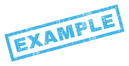 exemplar: Example text rubber seal stamp watermark. Tag inside rectangular banner with grunge design and dirty texture. Inclined vector blue ink sign on a white background.