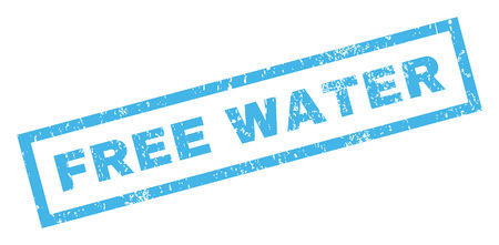 Free Water text rubber seal stamp watermark. Tag inside rectangular banner with grunge design and unclean texture. Inclined vector blue ink emblem on a white background.