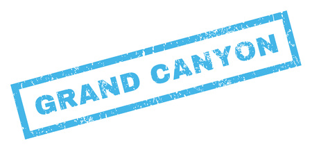 canyon: Grand Canyon text rubber seal stamp watermark. Caption inside rectangular shape with grunge design and dust texture. Inclined vector blue ink sign on a white background.