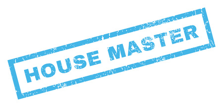 dirty house: House Master text rubber seal stamp watermark. Caption inside rectangular banner with grunge design and dirty texture. Inclined vector blue ink emblem on a white background.