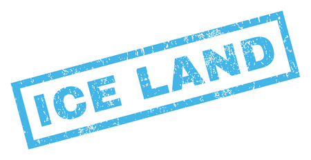 land mark: Ice Land text rubber seal stamp watermark. Caption inside rectangular shape with grunge design and unclean texture. Inclined vector blue ink sticker on a white background.