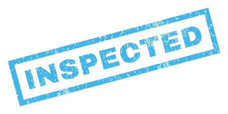 inspected: Inspected text rubber seal stamp watermark. Caption inside rectangular banner with grunge design and scratched texture. Inclined vector blue ink sticker on a white background.